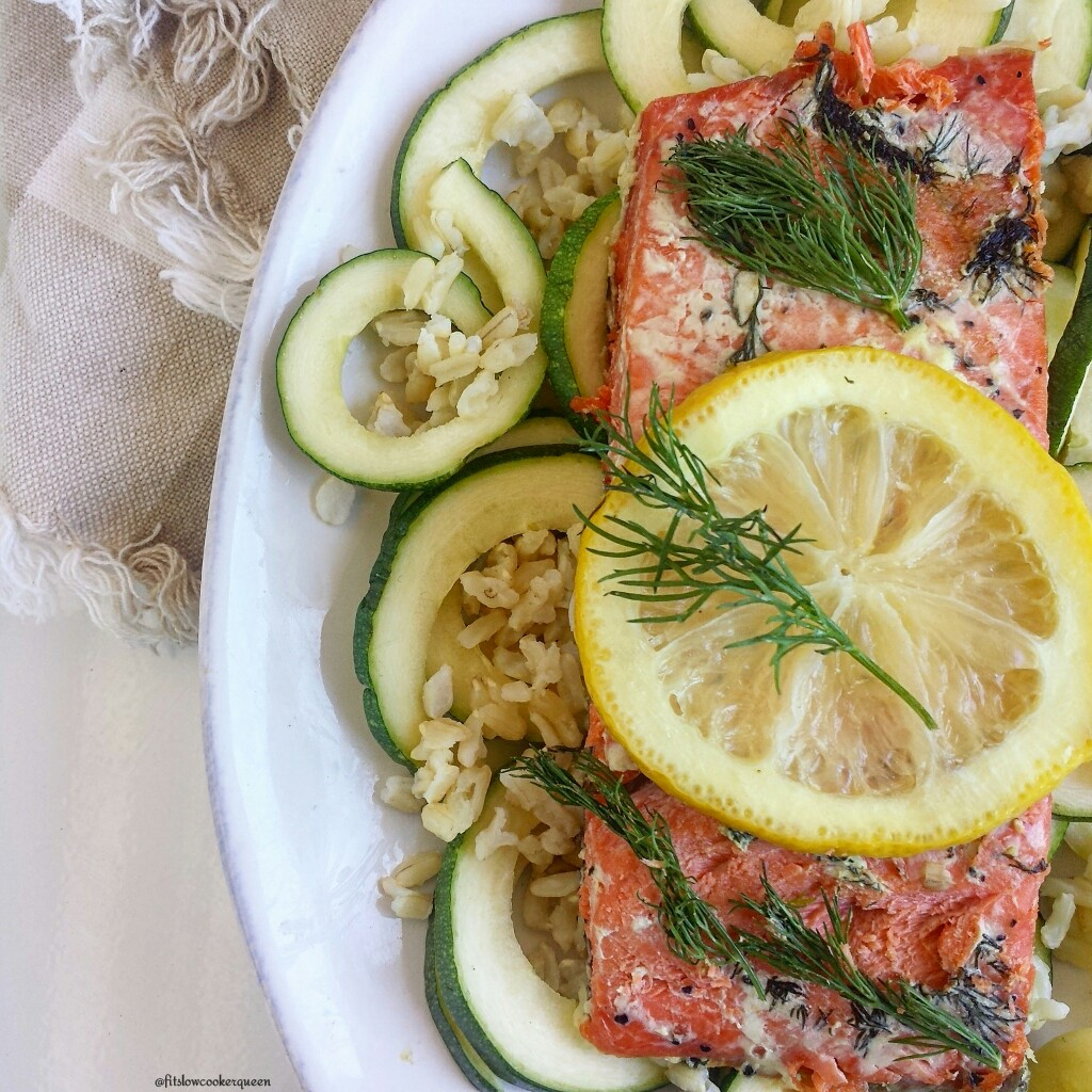 slow cooker salmon lemon dill 4