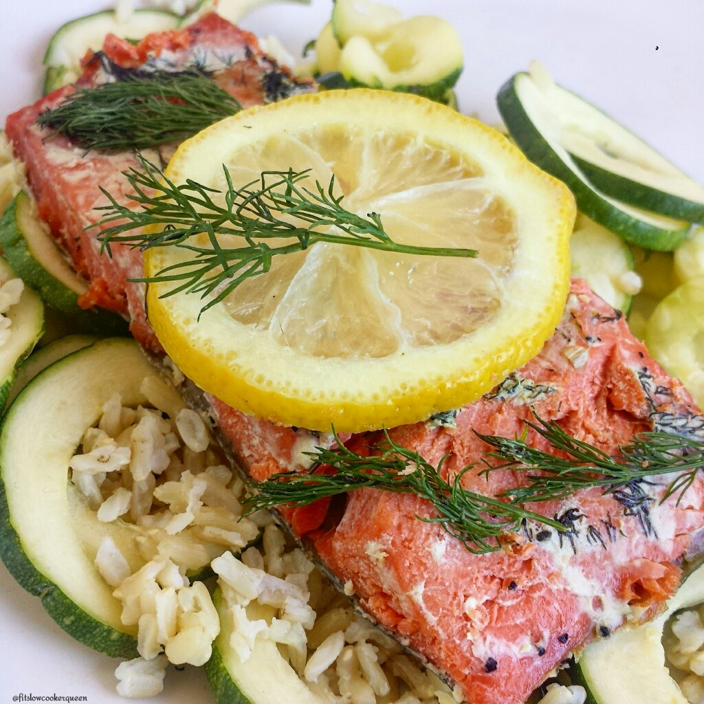 slow cooker salmon lemon dill 5