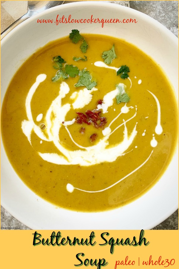 Pinterest pin for Slow Cooker_Instant Pot Butternut Squash Soup (Paleo,Whole30) pin1