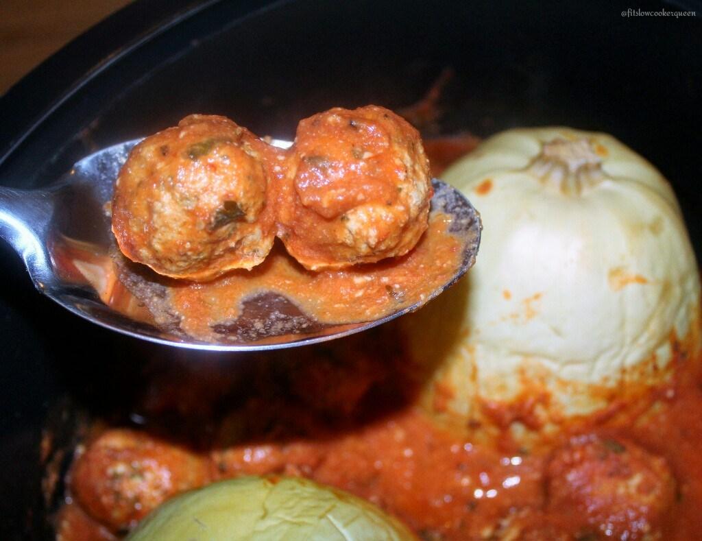 slow cooker spaghetti squash & meatballs 4