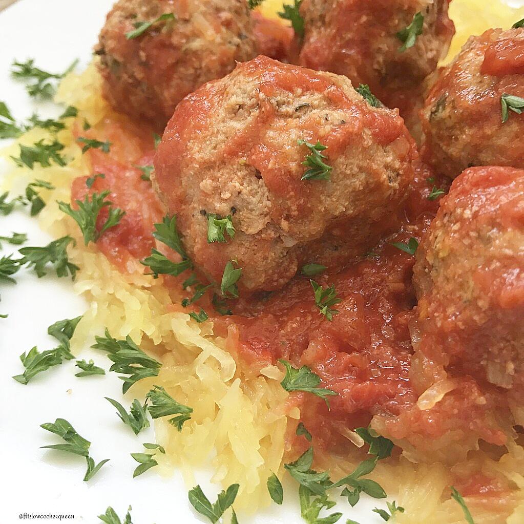 slow cooker spaghetti squash meatballs whole30 paleo