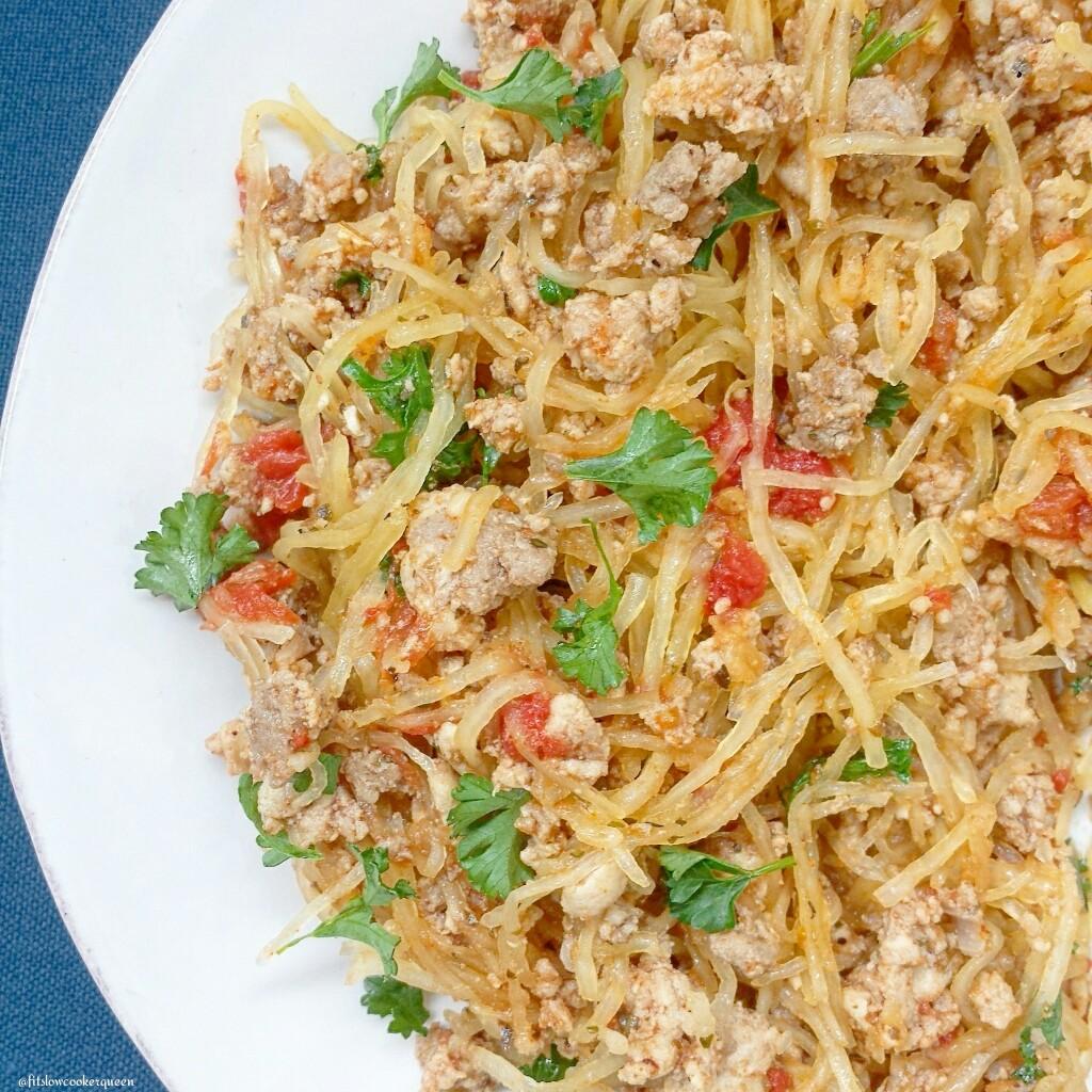 spaghetti squash meat herbs 3