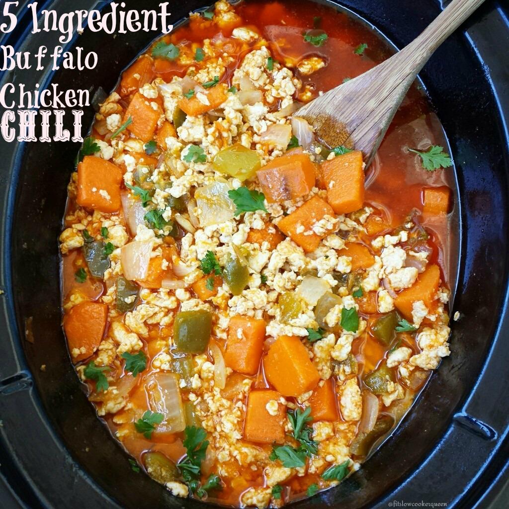 5 ingredient slow cooker Buffalo chicken chilli