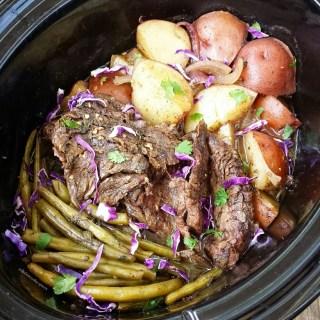 Slow Cooker Caribbean Beef, Potatoes and Green Beans