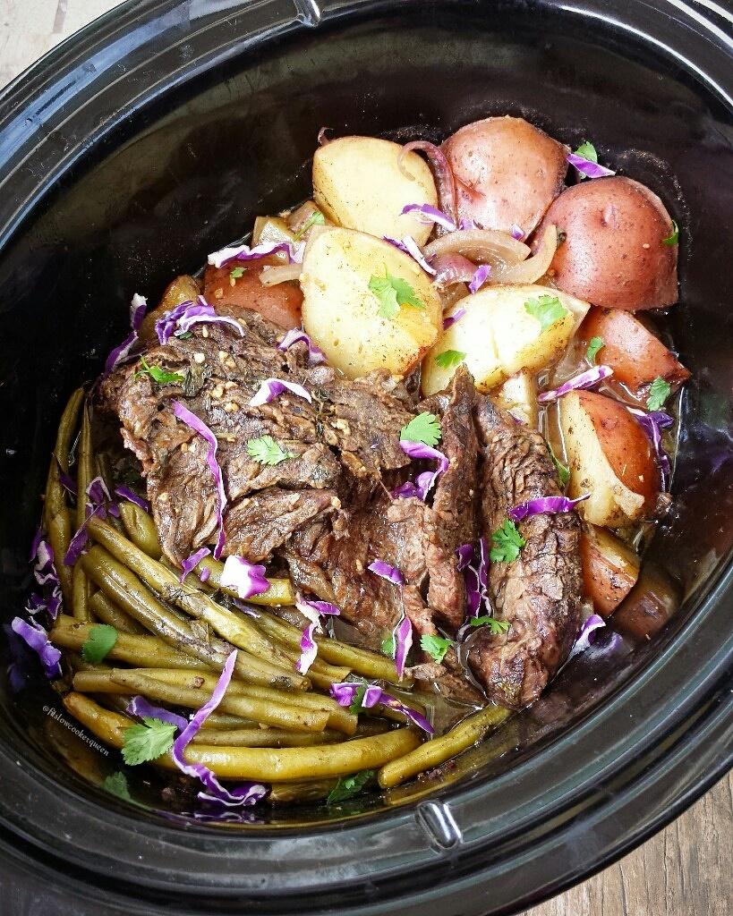 slow cooker caribbean beef potatoes green beans