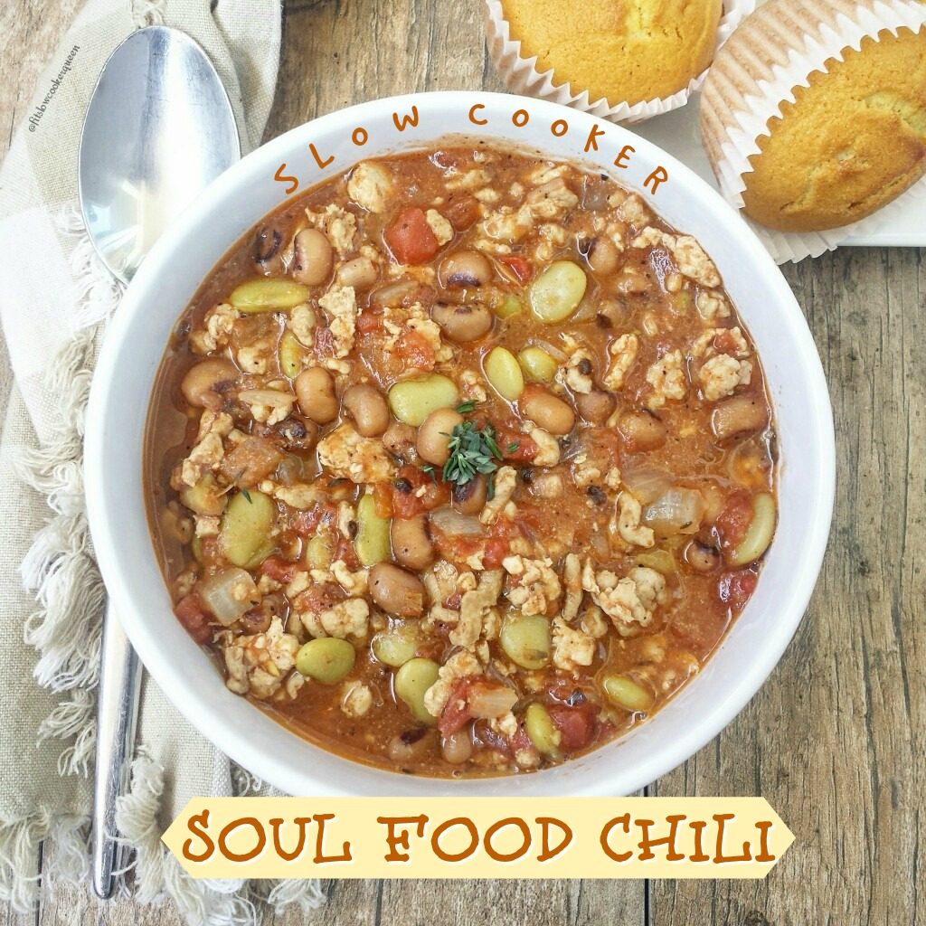 Soul food ingredients and flavors take over the slow cooker for this unique spin on chili. Hearty yet healthy, this comfort food can be eaten year-round.