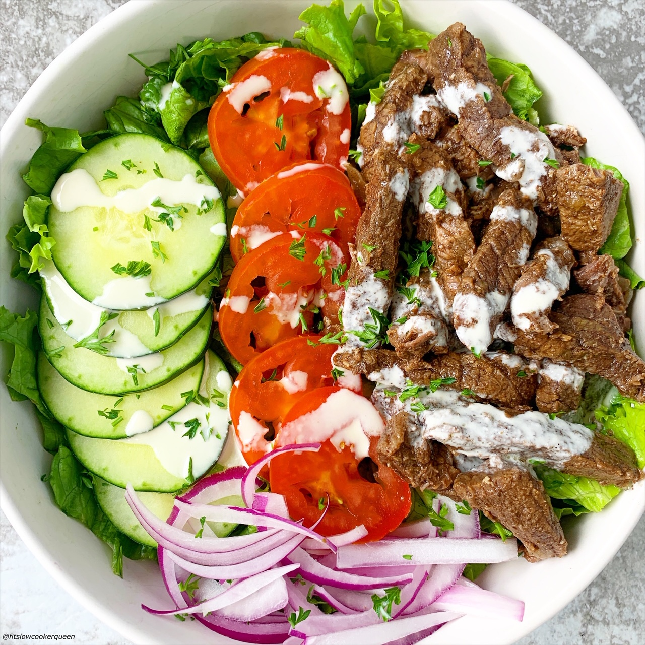 Pinterest pin for Slow Cooker Instant Pot Beef Shawarma Bowl close up pic