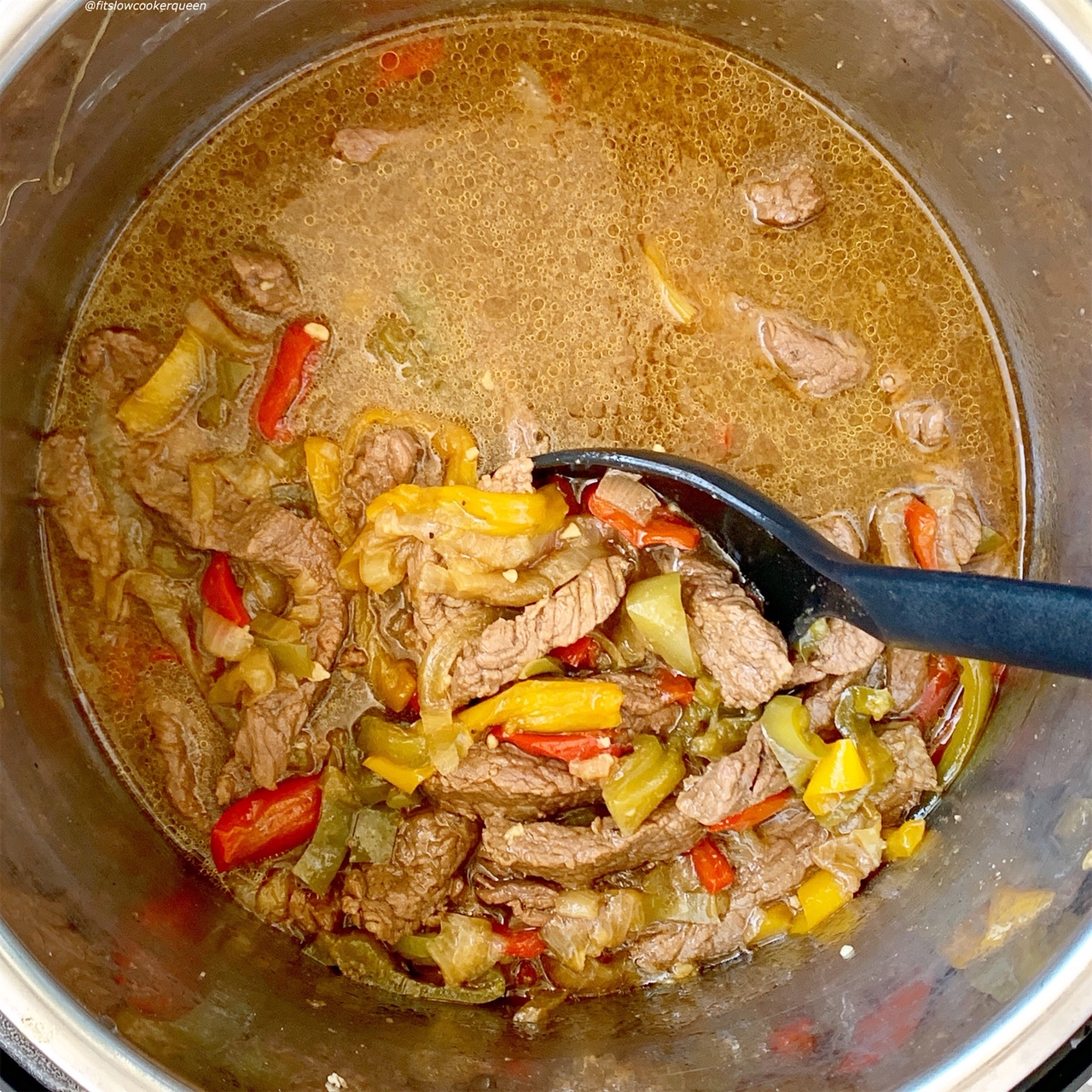 pepper steak in the pressure cooker after cooking