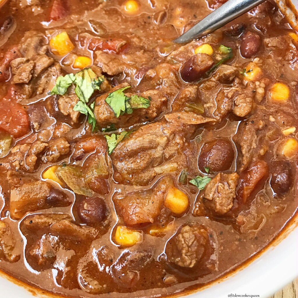 Mexican flavors and ingredients combine for a hearty yet healthy chili that can be made in your Instant Pot or slow cooker.