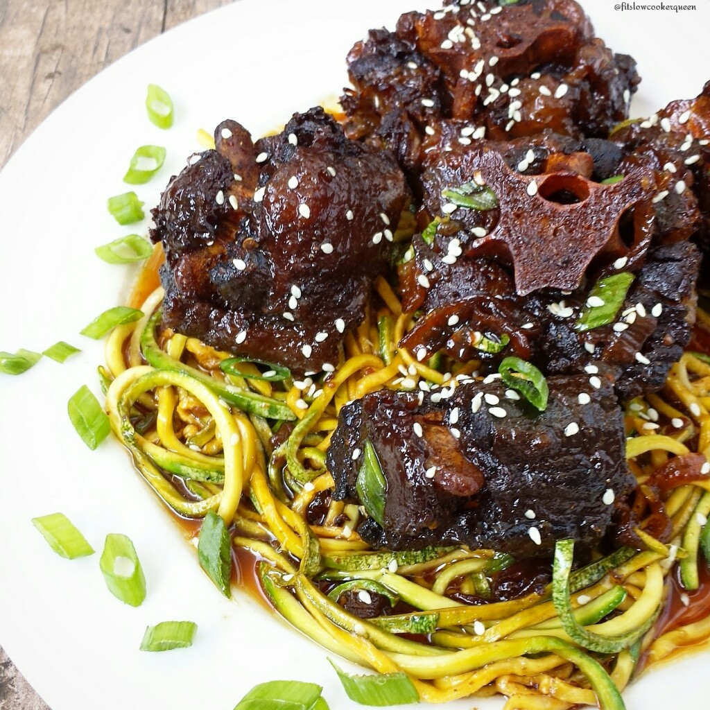 Oxtails are best cooked low & slow which makes them perfect for the slow cooker. With a homemade Korean-style sauce and zoodles, this is easy and flavorful.
