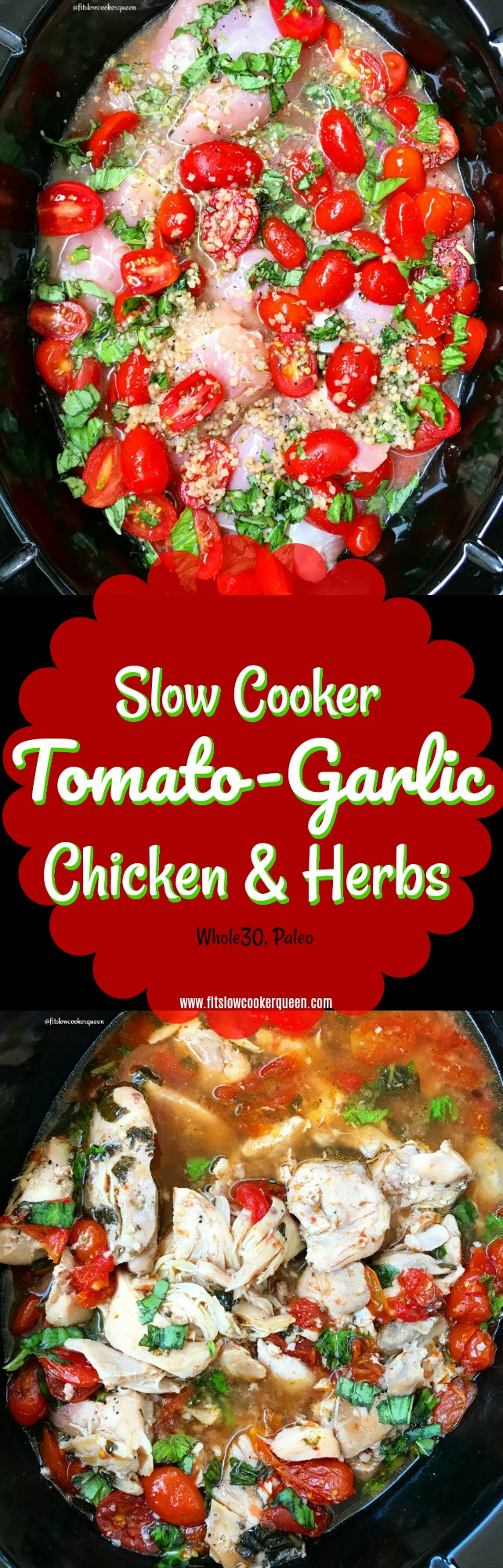 Chicken and a homemade tomato-garlic sauce cook together in this simple yet flavor healthy (whole30, paleo) slow cooker recipe.