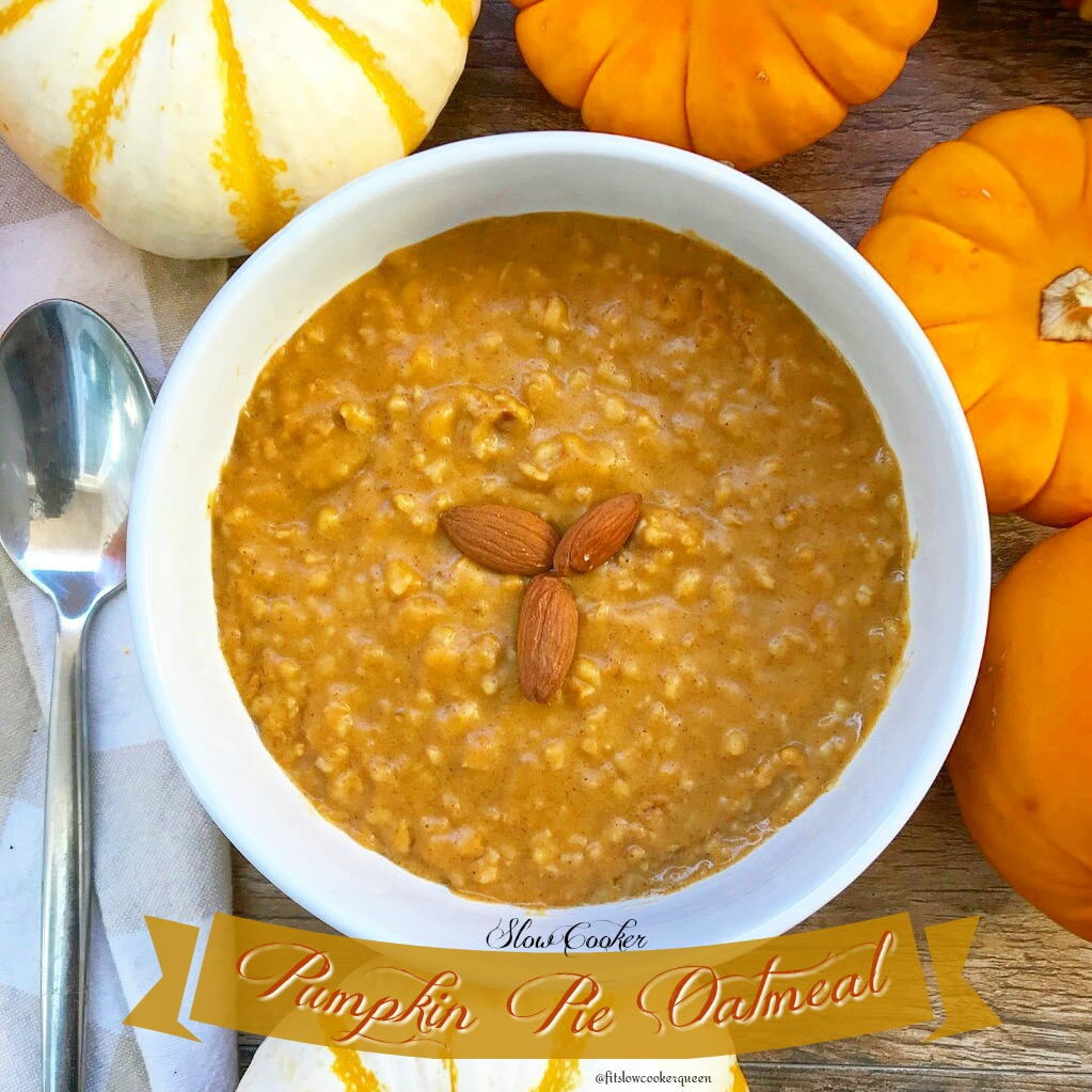Pumpkin pie oatmeal is the perfect slow cooker breakfast for fall season. It's healthy & cooks overnight so you wake up to a pumpkin aroma filled kitchen!