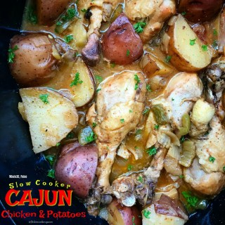 Cajun spices and a homemade sauce cook with chicken and potatoes in this super easy, healthy, and flavorful slow cooker recipe.