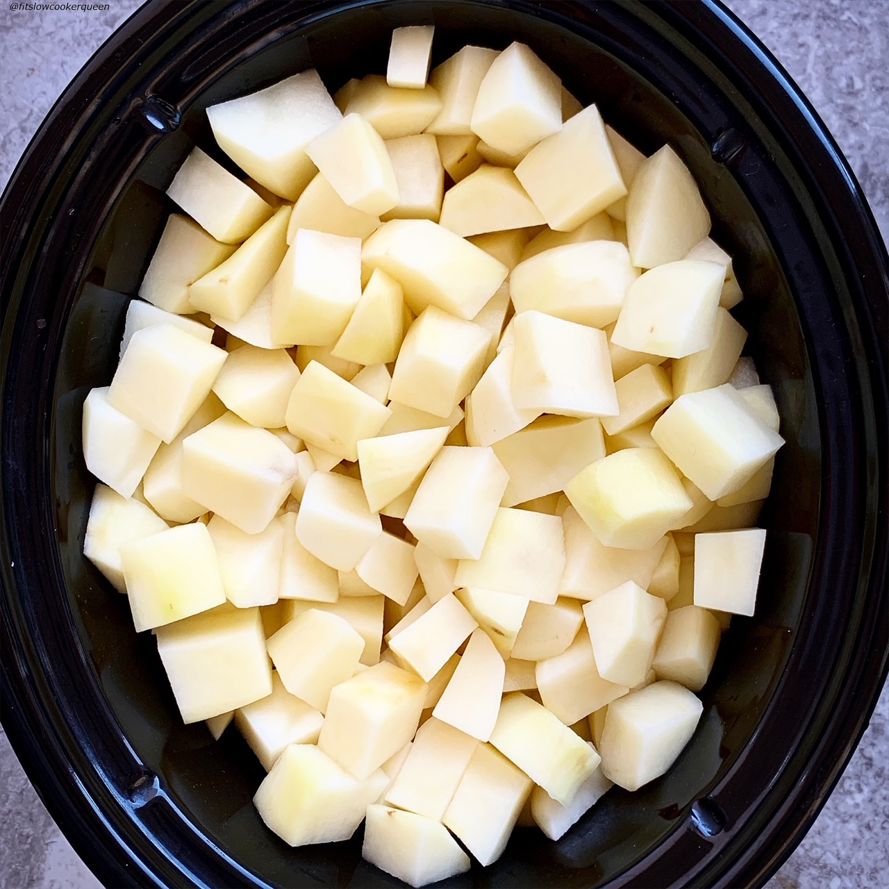 raw potatoes in the slow cooker
