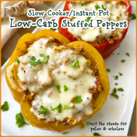 {VIDEO} Slow Cooker/Instant Pot Low-Carb Stuffed Peppers