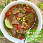 This recipe takes carne asada flavors and turns them into a soup. Flavorful and filling, this slow cooker soup is super easy and healthy too.