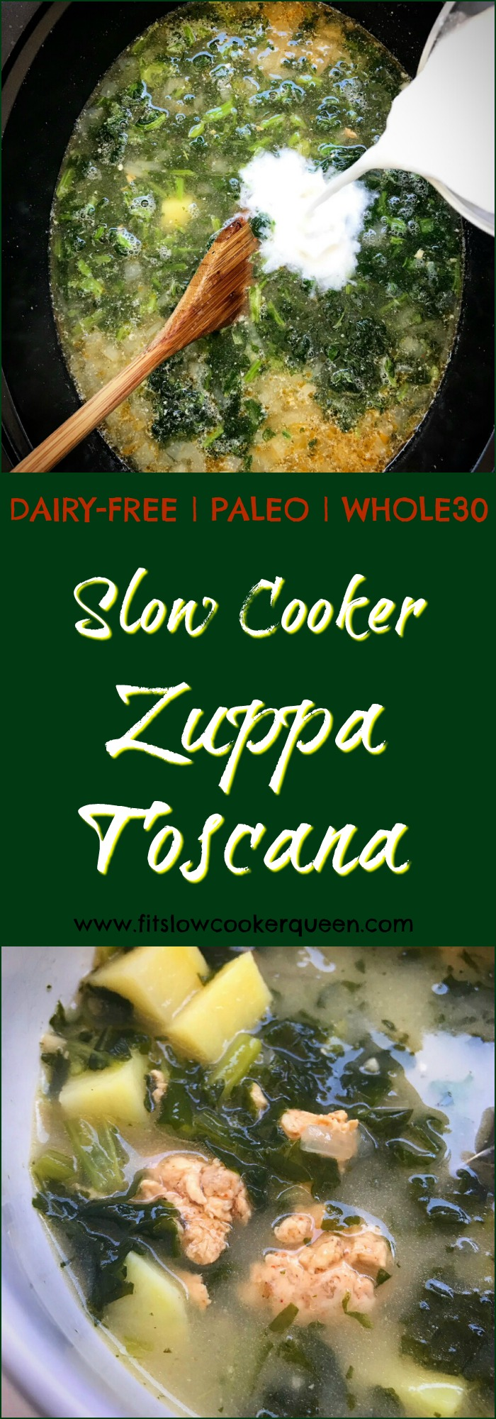 Zuppa toscana is a simple soup using sausage, kale, and potatoes. This cleaned up version is paleo, whole30, and dairy-free and cooks in your slow cooker in just a couple of hours.