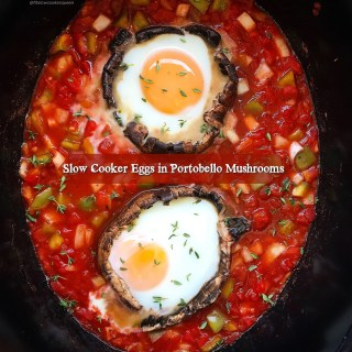 Slow Cooker Eggs in Portobello Mushrooms (Paleo/Whole30)