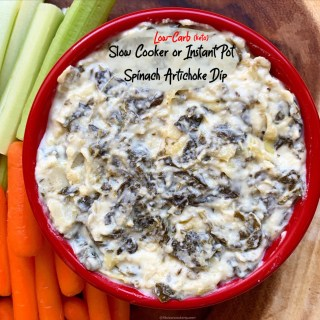 Spinach artichoke dip is served as a shared appetizer at restaurants, potlucks, and sports gatherings. This low-carb slow cooker or Instant Pot version will please any crowd!