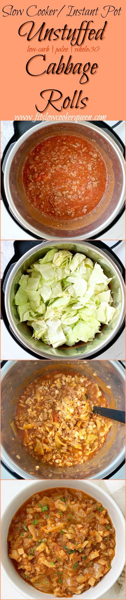 pinterest pin for Slow Cooker_Instant Pot Unstuffed Cabbage Rolls (Low-Carb, Paleo, Whole30)