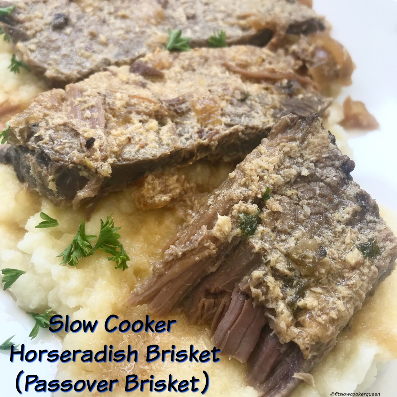 Horseradish covers brisket then slow cooks with onions in this simple yet flavorful slow cooker recipe that's perfect for your next Passover seder.