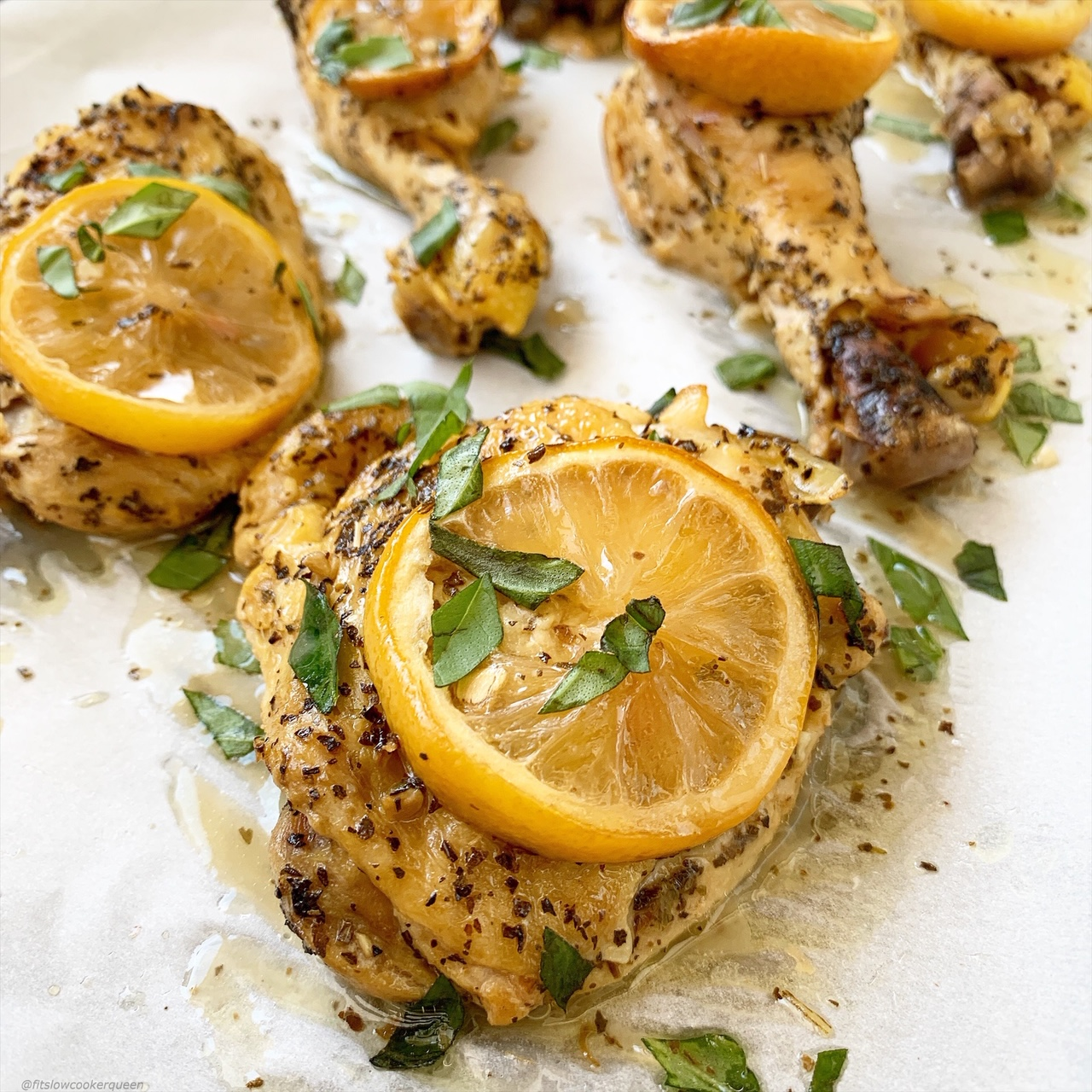 This lemon basil chicken can be made in your slow cooker or Instant Pot. Using a simple, homemade & healthy sauce, this lemony chicken recipe is easy and healthy.