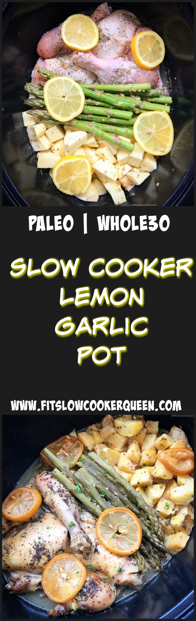 A light, homemade lemon garlic sauce accompanies any cut of chicken, potatoes or sweet potatoes, and your favorite vegetable for this flavorful whole30 and paleo slow cooker recipe.