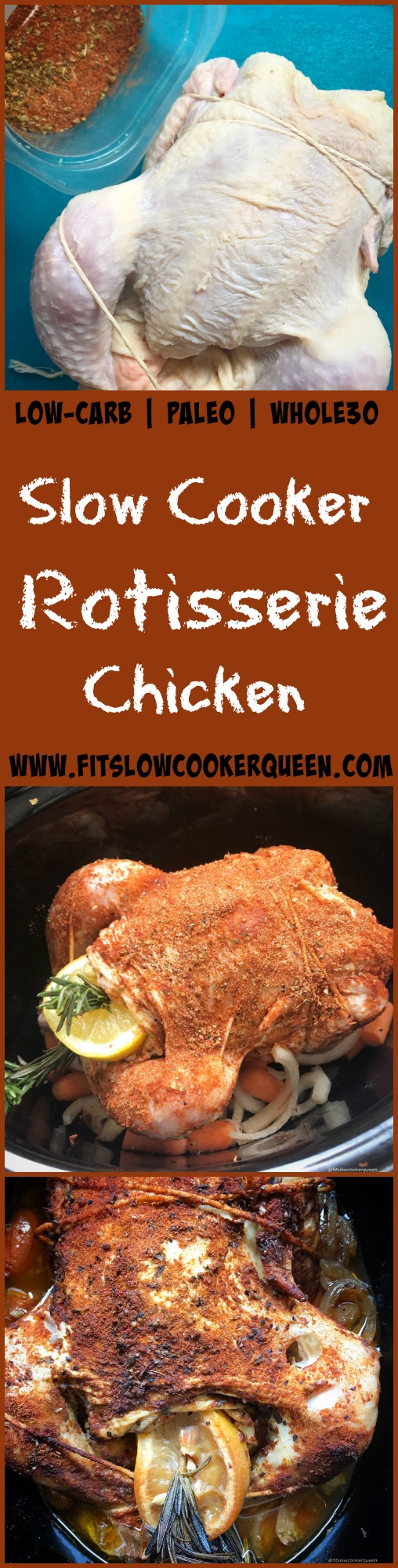 Of course a rotisserie spiced chicken can be slow cooked! A whole chicken rubbed down with a homemade rotisserie seasoning then cooked in the slow cooker produces tender, versatile meat that can be re-used in lots of recipes.