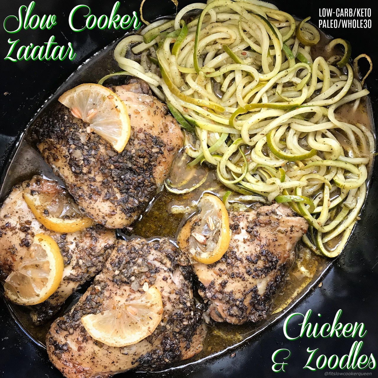 A homemade sauce using za'atar, chicken, and zoodles cook together in this simple and healthy paleo, whole30, and low-carb slow cooker recipe.