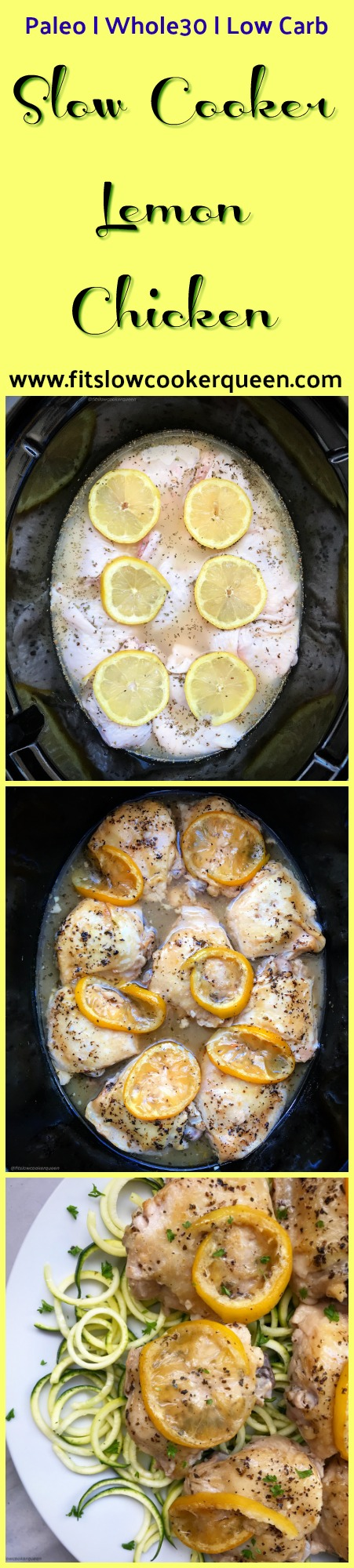 This lemon chicken slow cooker recipe looks simple because it is! Light yet citrusy, this recipe is low-carb, paleo, and whole30.