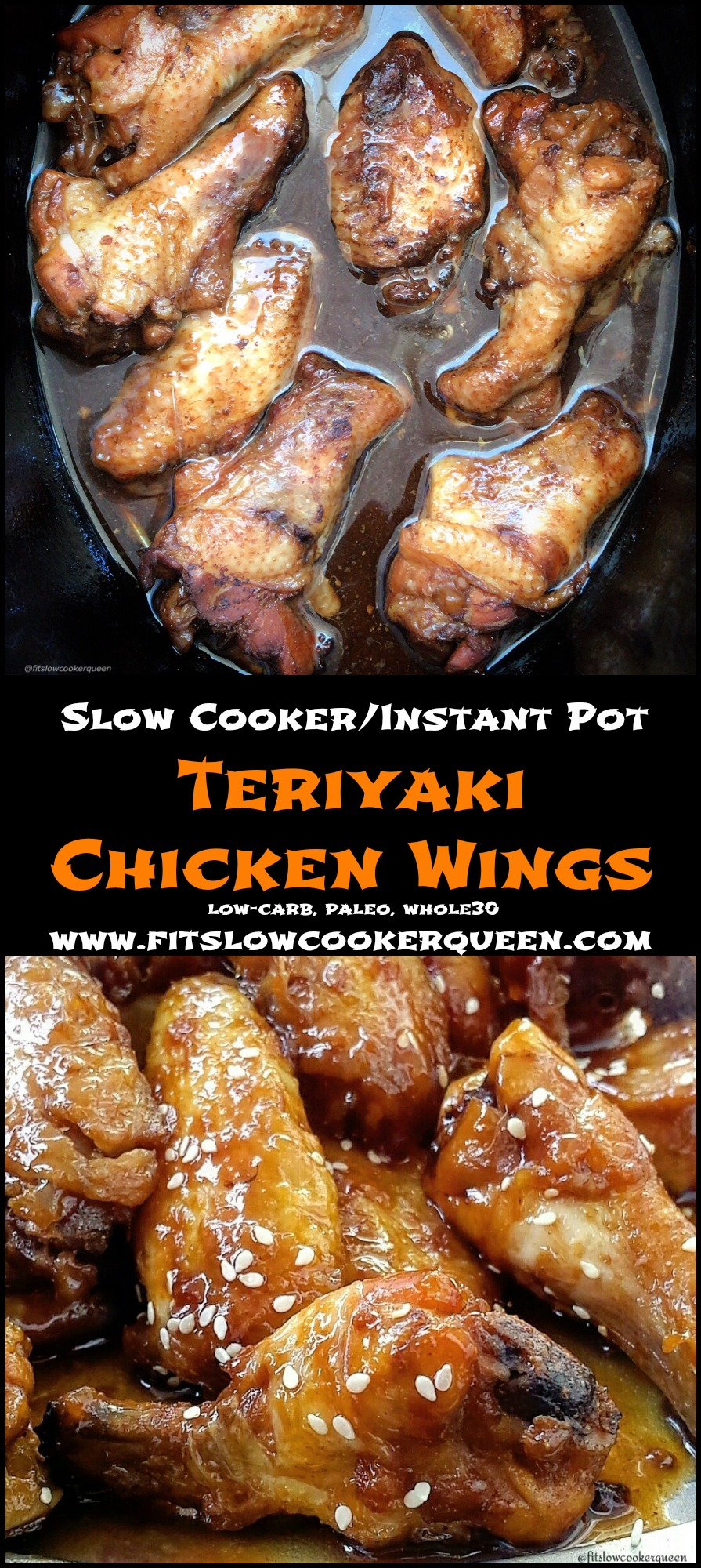 another pinterest pin for {VIDEO} Slow Cooker_Instant Pot Teriyaki Chicken Wings (Low-Carb, Paleo, Whole30)