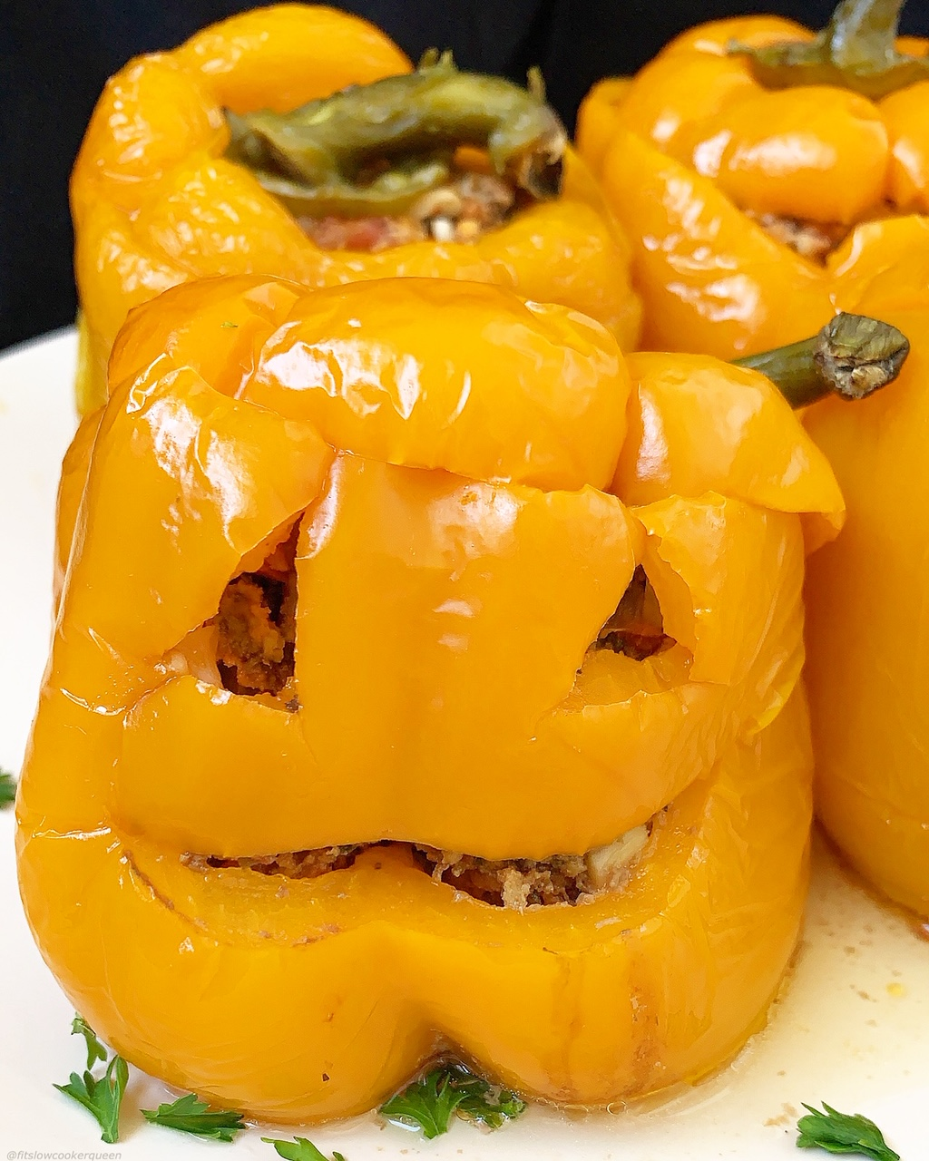 These jack-o-lantern stuffed peppers are an easy way to add some Halloween fun to your dinner table.The best part is they're low-carb, paleo, whole30, and made in the slow cooker for stress-free meal.