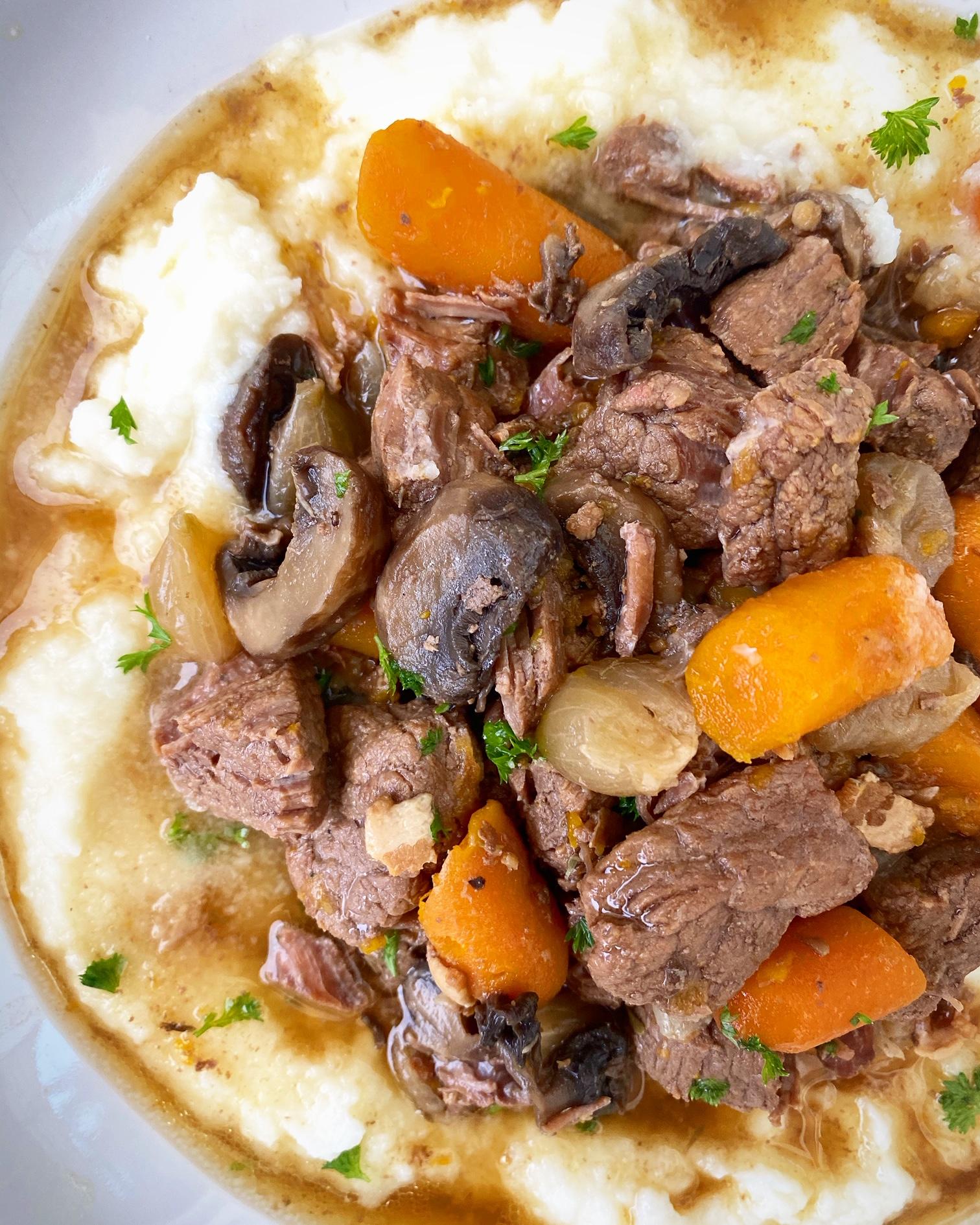Slow Cooker Instant Pot Beef Bourguignon (Paleo,Whole30)