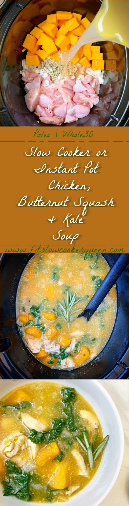 Chicken, butternut squash, and kale cook together in this easy paleo and whole30 compliant recipe. This soup can be made in your slow cooker or Instant Pot.
