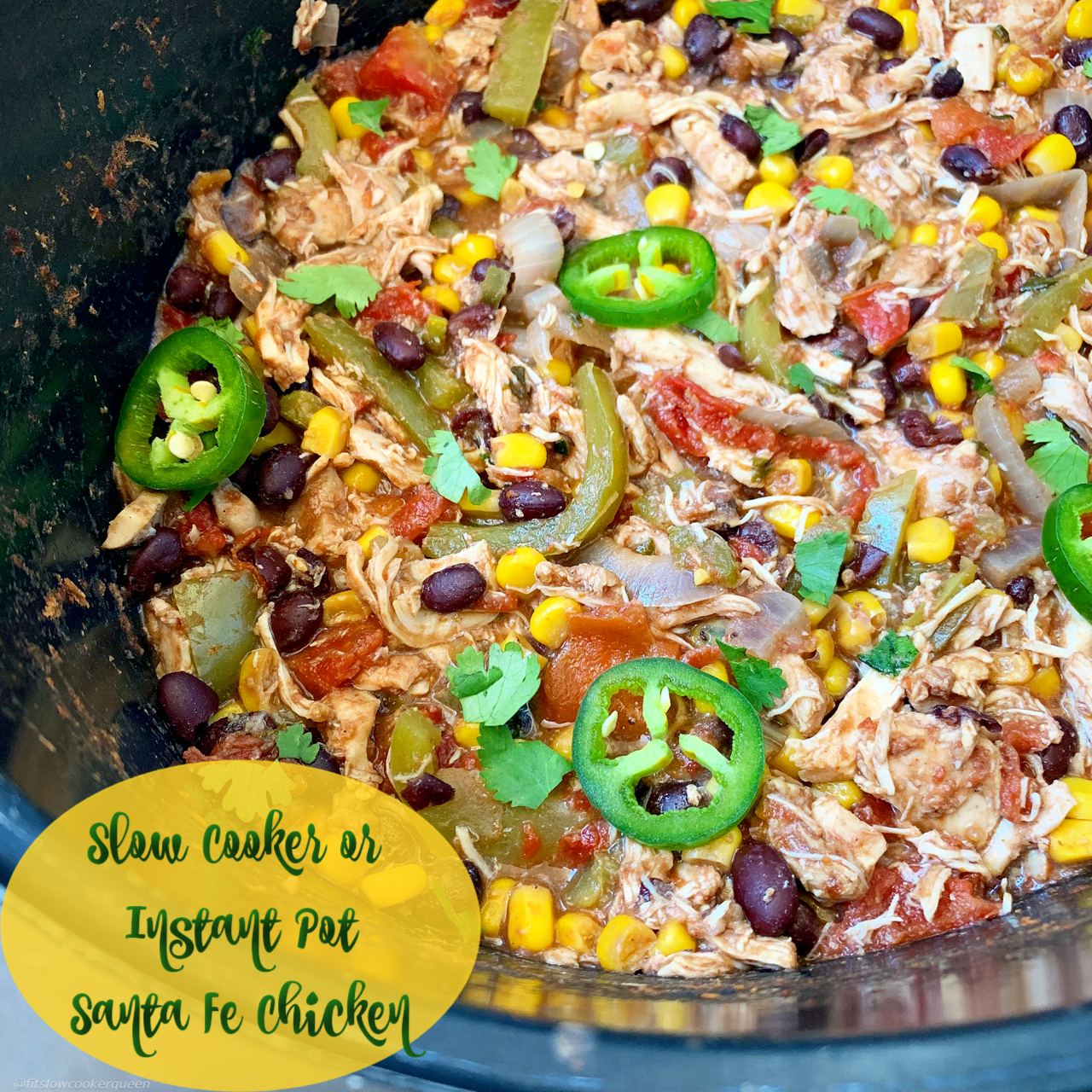 Santa Fe chicken is an easy and flavorful TexMex inspired recipe that can be made in your slow cooker or Instant Pot.