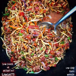 Slawghetti is broccoli slaw cooked in the slow cooker to a soft 'spaghetti' consistency. This is a great low-carb, paleo, and whole30 alternative to spaghetti that's not spaghetti squash.