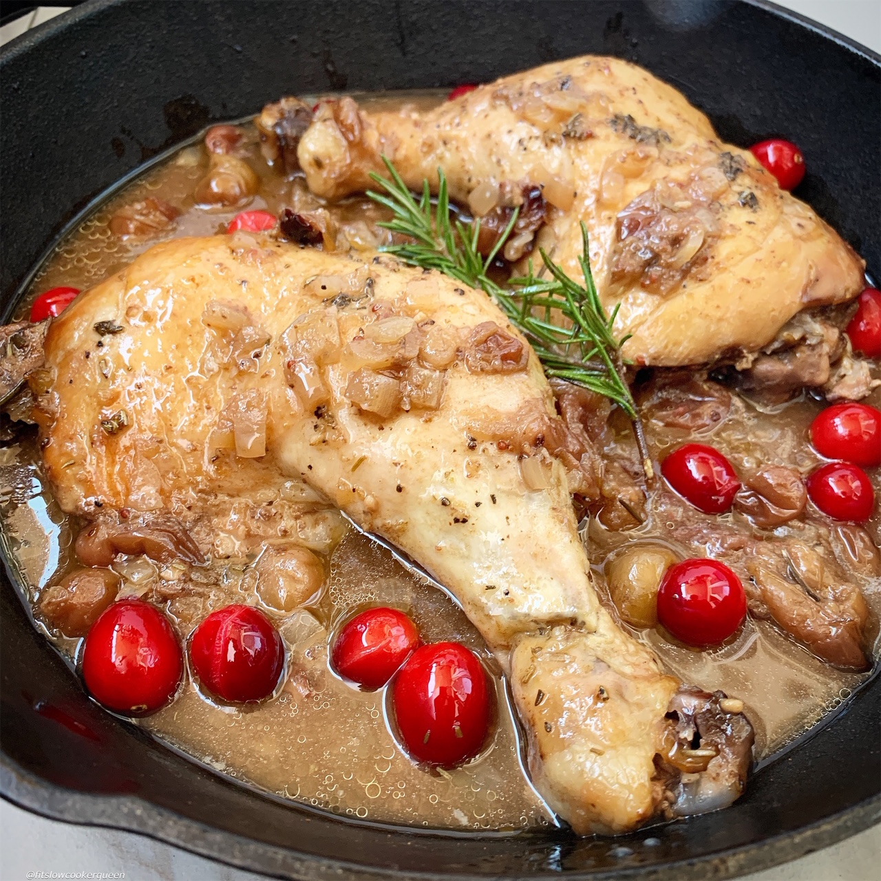 A homemade balsamic and cranberry sauce cooks on top of your favorite cut of chicken in this easy and healthy recipe that can be made in your slow cooker or Instant Pot