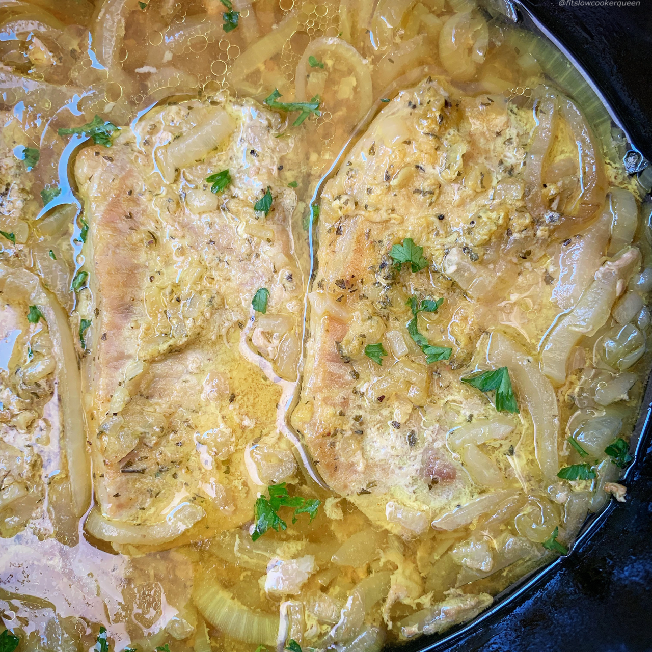 A homemade french onion mix cooks with pork chops in this low-carbketo, paleo, and whole30 slow cooker or Instant Pot recipe (1)
