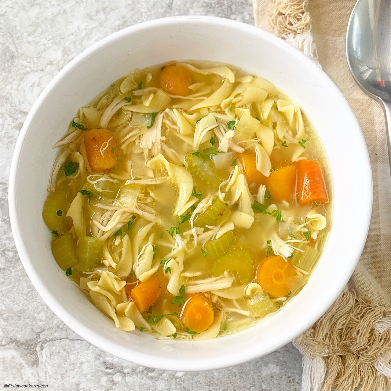 slow cooker or instant pot chicken noodle soup in a bowl