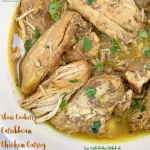 This easy Caribbean curry chicken is a simple recipe but packed with flavor. Low-carb, paleo, and whole30, this slow cooker meal is healthy too.