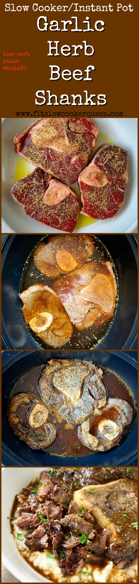 another pinterest pin for {VIDEO} Slow Cooker_Instant Pot Garlic Herb Beef Shanks (Low-Carb, Paleo,Whole30)