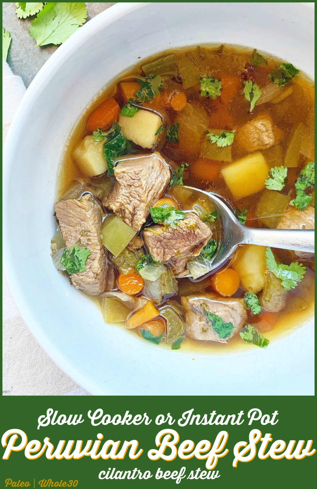 Peruvian or cilantro beef stew is an simple yet flavorful stew using chunks of beef, cilantro, potatoes, and veggies. Make this hearty stew in your slow cooker or Instant Pot.