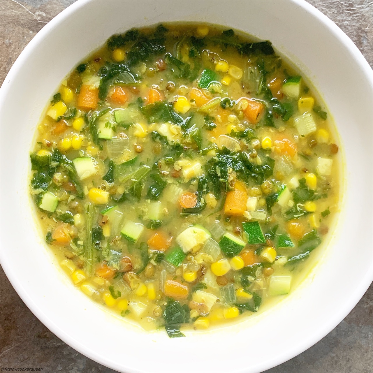 Lentils and mung beans star in this simple vegan soup recipe that's packed with flavor. Make this healthy soup in your slow cooker or Instant Pot.