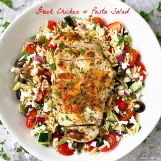 This Greek inspired chicken & pasta salad uses a single homemade dressing that's used for both the marinade and salad dressing. Make this in under 30 minutes.