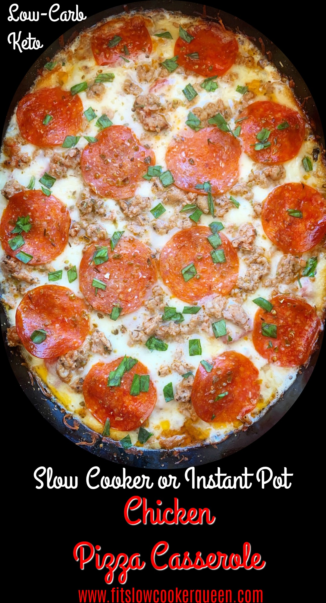 Chicken pizza casserole is an easy casserole the entire family will enjoy. Make this low-carb pizza-inspired meal in your slow cooker or Instant Pot.