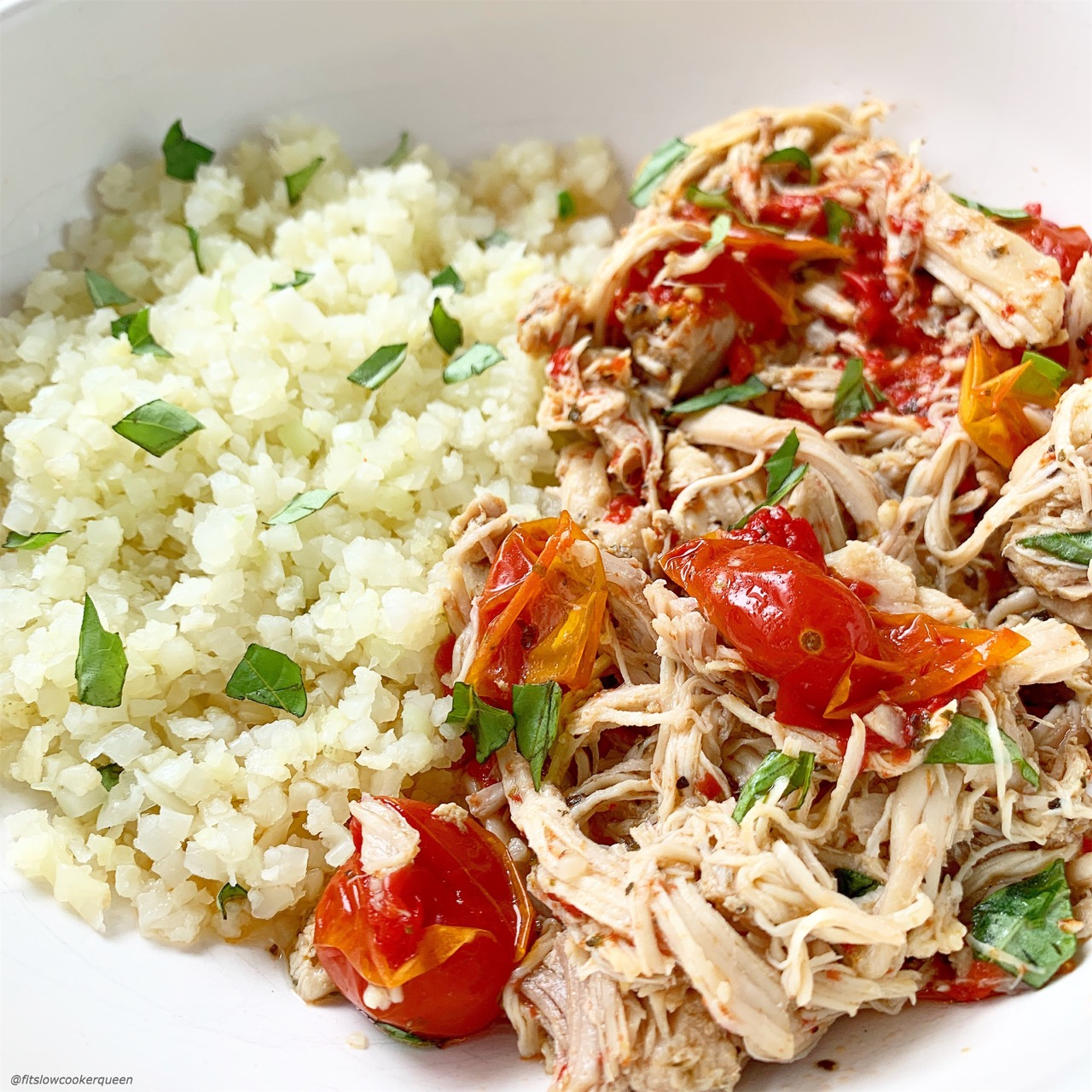 Chicken and a homemade tomato-garlic sauce cook together in this simple yet flavor healthy slow cooker or Instant Pot recipe.
