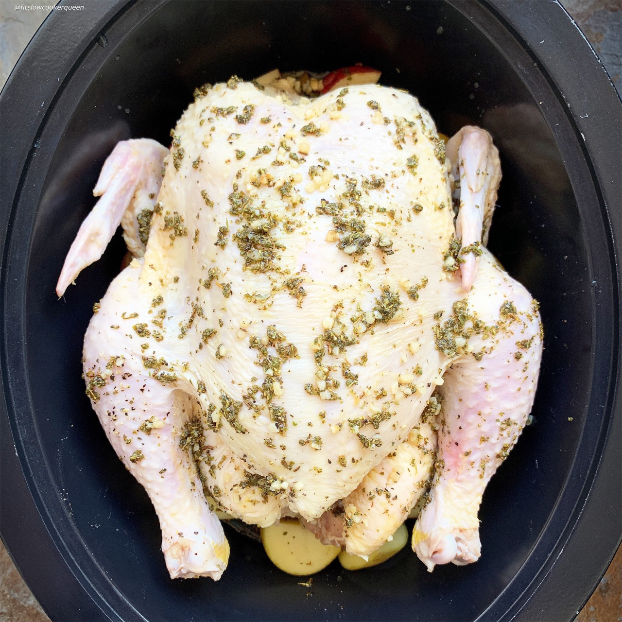 whole chicken in the slow cooker with herb sauce
