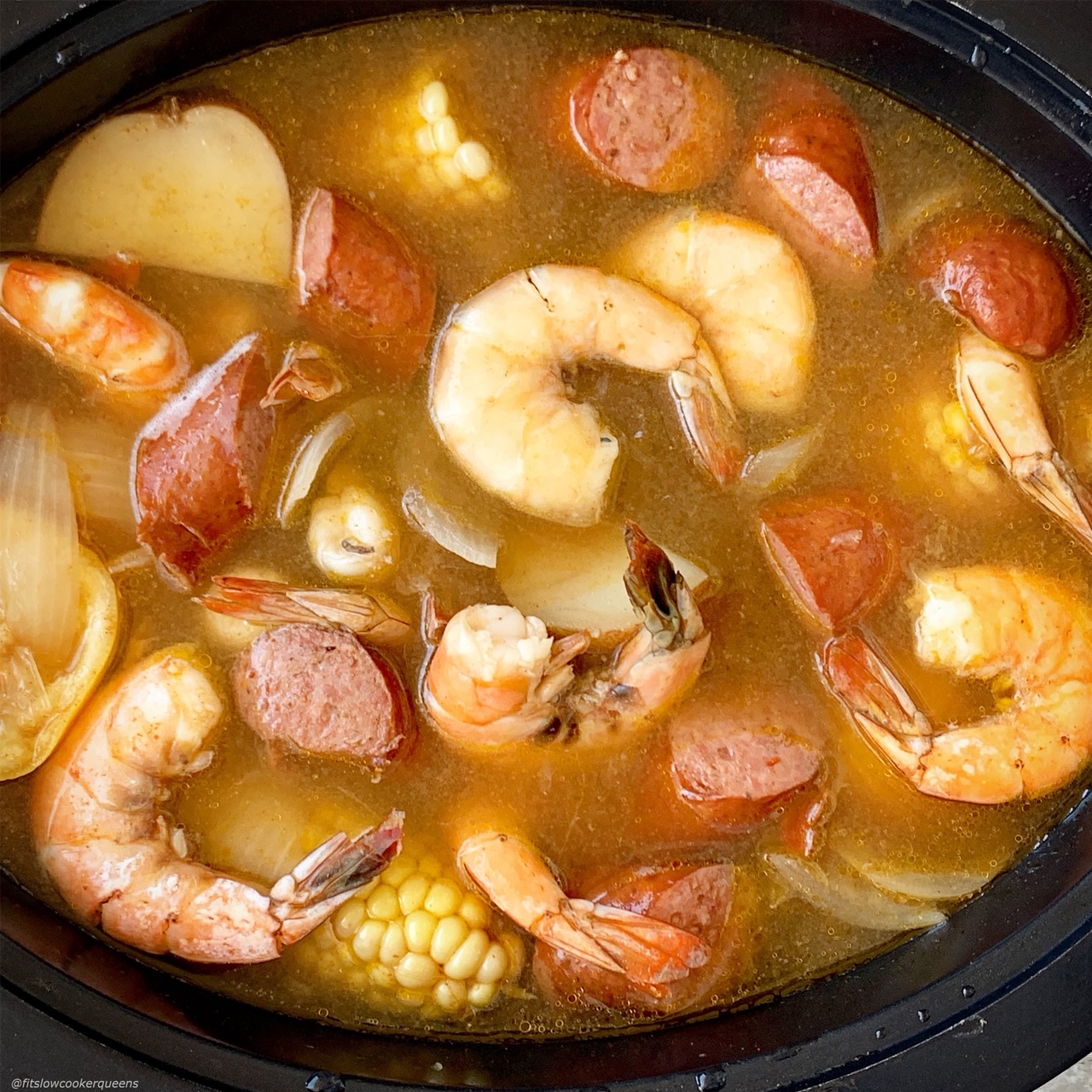 shrimp cooked in slow cooker for low country boil