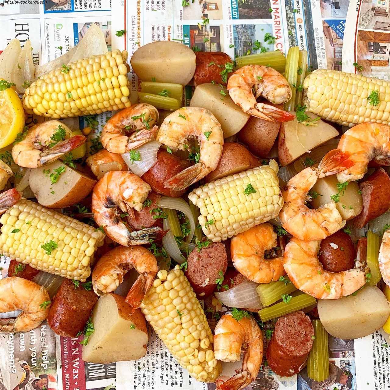 low country boil on newspaper for slow cooker