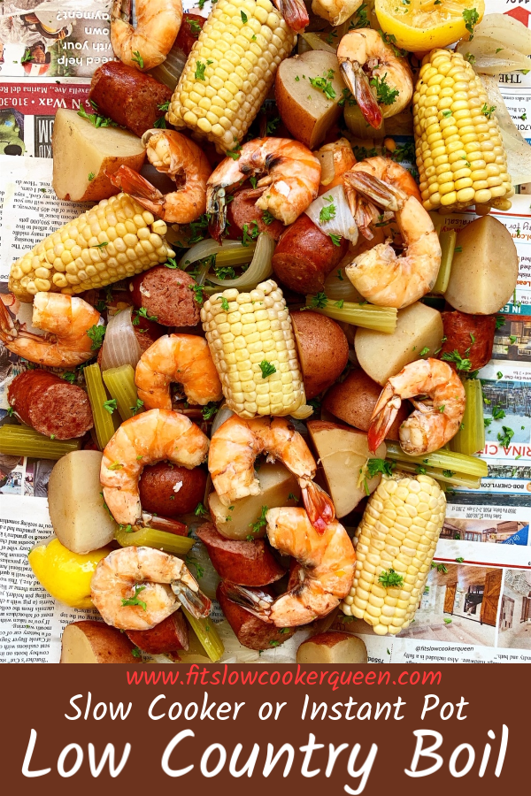 Pinterest pin for slow cooker or instant pot low country boil